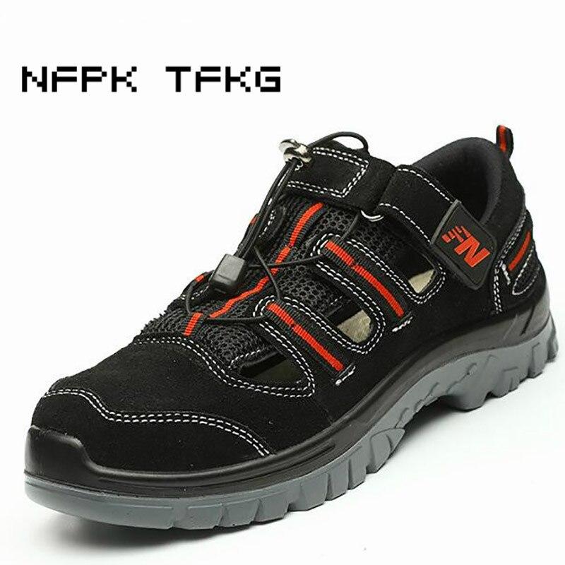 큰 사이즈 망 캐주얼 스틸 발가락 모자 작업 안전 여름 신발 부드러운 암소 가죽 샌들 펑크 증거 플랫폼 보안 부츠-에서작업 & 안전 부츠부터 신발 의  그룹 1