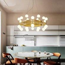 Ceiling Lamp Post-modern Pendant Lights Nordic Creative Bedroom Living Room Pendant Lamp Gold Restaurant Glass Ball Molecular цена