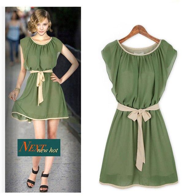 8661cb87c248 Women summer 2015 new chiffon falbala dress top sleeveless O-neck dresses  loose western style casual waistband bowknot dress