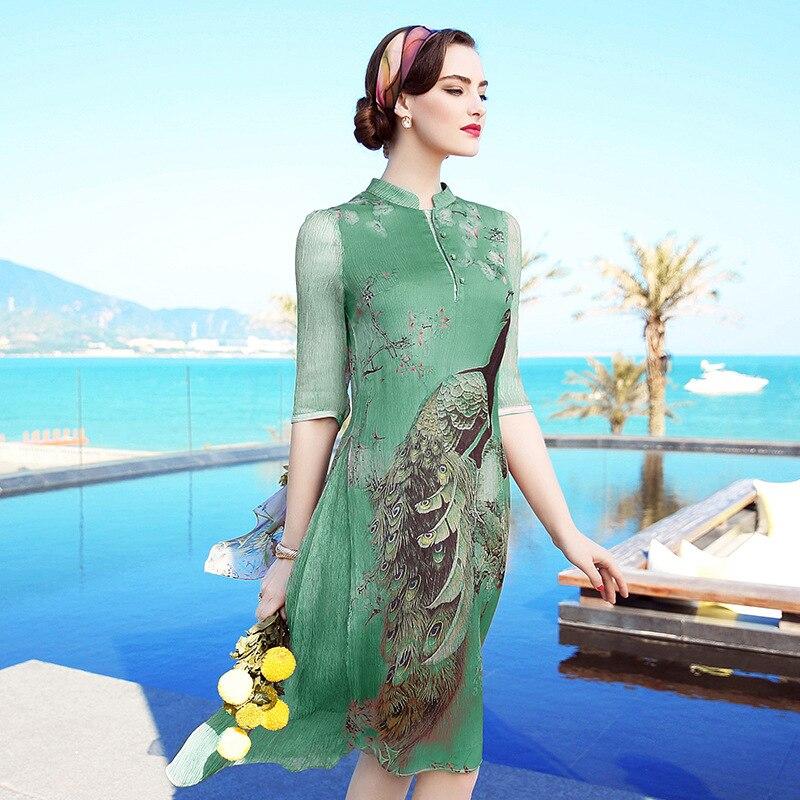 Robes Mûrier Tribu Xxl En Robe De Femmes Été M Xl Xxxl Avec Soie 2018 Vert Un L Chinois lavande Unique Impression Paon ZqYntq5xPw