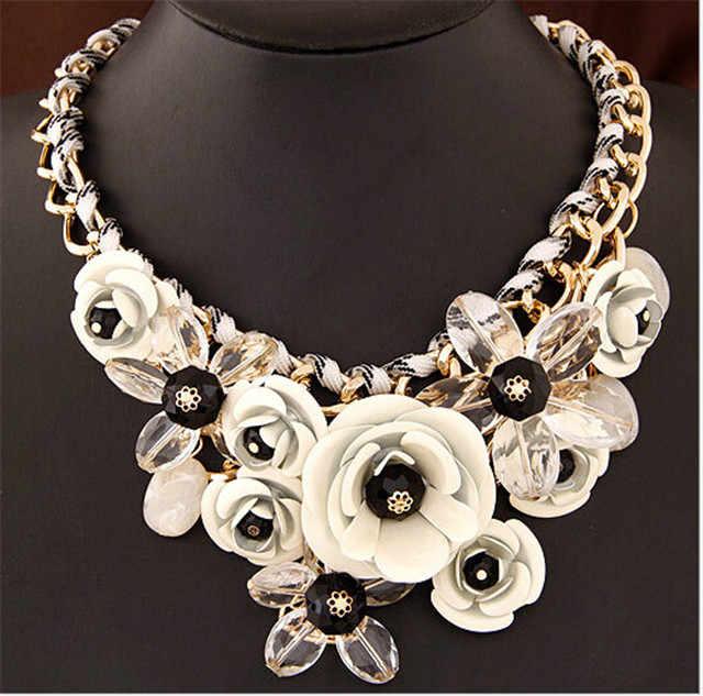 Seblasy Collier Chunky Gold Farbe Kette Handmade Geflochtene Kristall Blumen Halsketten & Anhänger Erklärung Halsketten Für Frauen