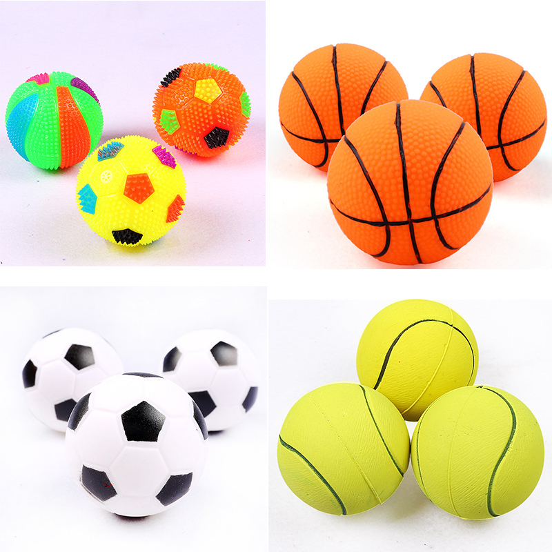 1pc Pet Dog Toy Rubber Sports Ball Toys for Dog Chewing Toy Squeaker Toy Sound Ball For Small Dog Training Product Supplies 6cm