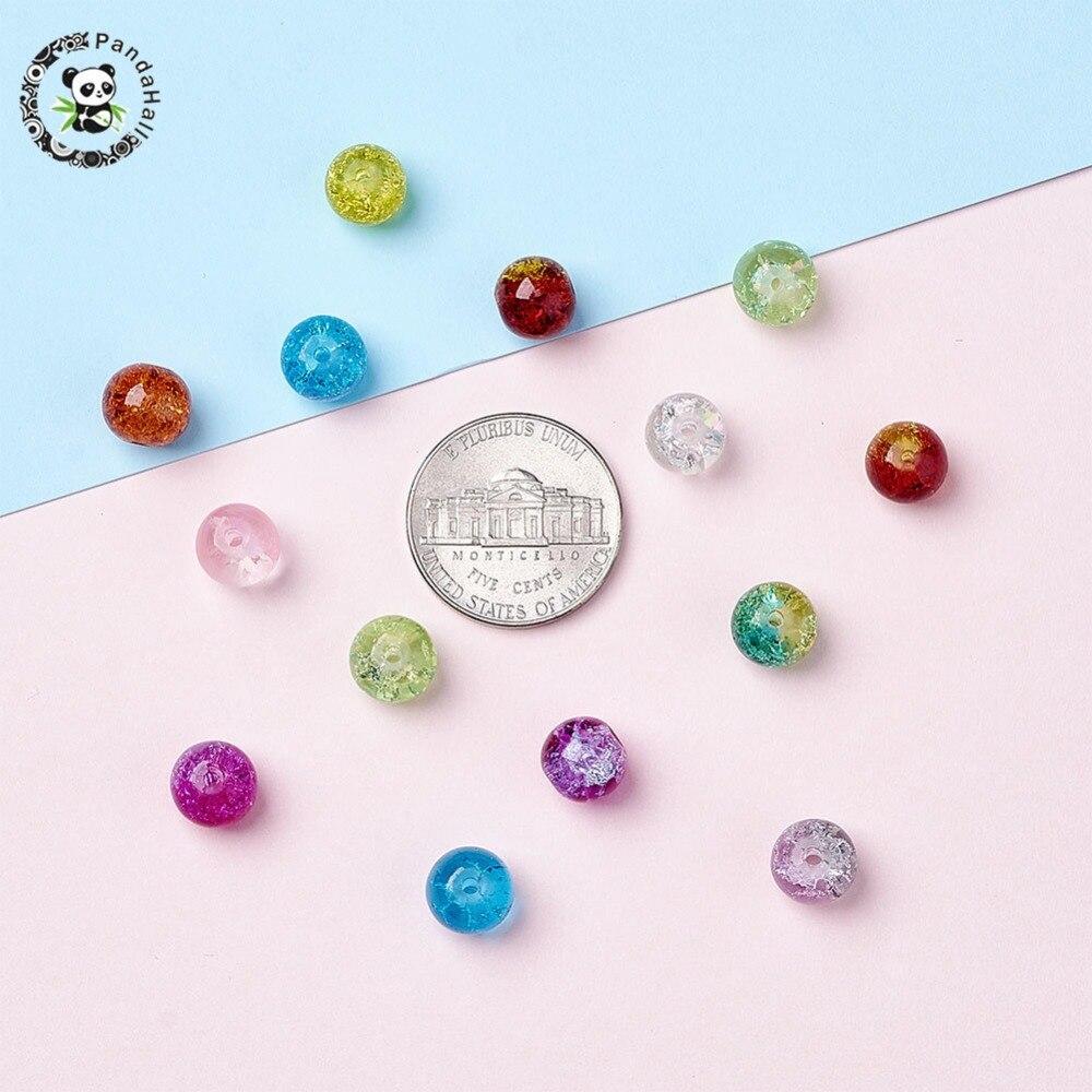 20 perles de verre Crackled Pink 12 mm