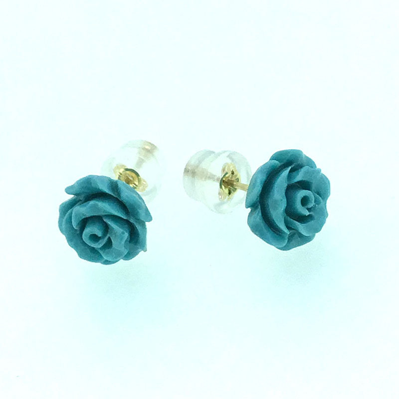 ANI 18K Yellow Gold AU750 Women Stud Earrings Natural Color Coral Flowers Engagement Jewelry Stud Earrings