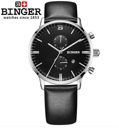 ФОТО Binger Fashion casual watch sales luxury leather strap commercial quartz watch men sport watches hour relojes relogio masculino