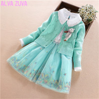 ALVA ZUVA 2017 Spring Autumn Princess Baby Girls Cotton Cardigan Sweater Coat Dresses 2Pcs Suit Kids