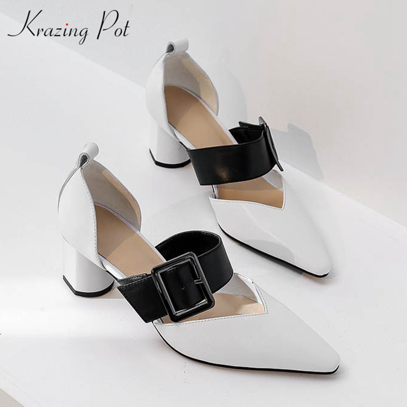 Krazing Pot 2019 hot sale full grain leather pointed toe high heels buckle strap Summer Spring