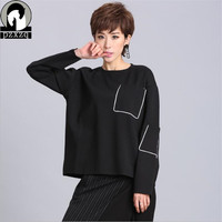 Women S Spring Summer Street Style Solid Color Loose Long Sleeve T Shirts Pocket Decor Female