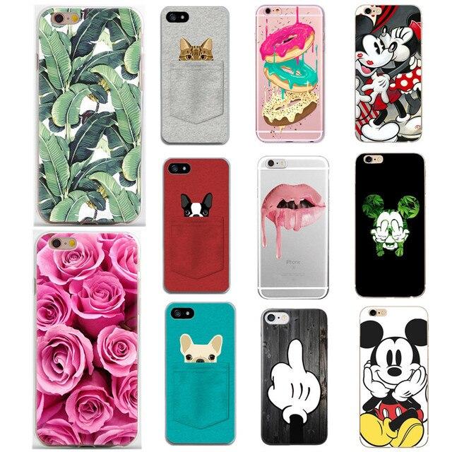 Silicone Case Cho iPhone 7 7 Cộng Với 5 5 S SE 6 S 6 S Trường Hợp mềm TPU Bìa Mickey Dog Flower Vương Miện Cho iPhone 7 8 Cộng Với 8 Cộng Với X