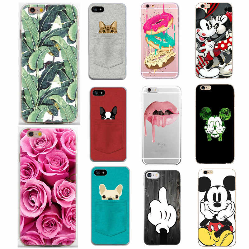 Siliconen Case Voor iPhone 7 7 Plus 5 5 S SE 6 S 6 S Case Soft TPU Cover Mickey hond Bloem Kroon Voor iPhone 7 8 Plus 8 Plus X XS