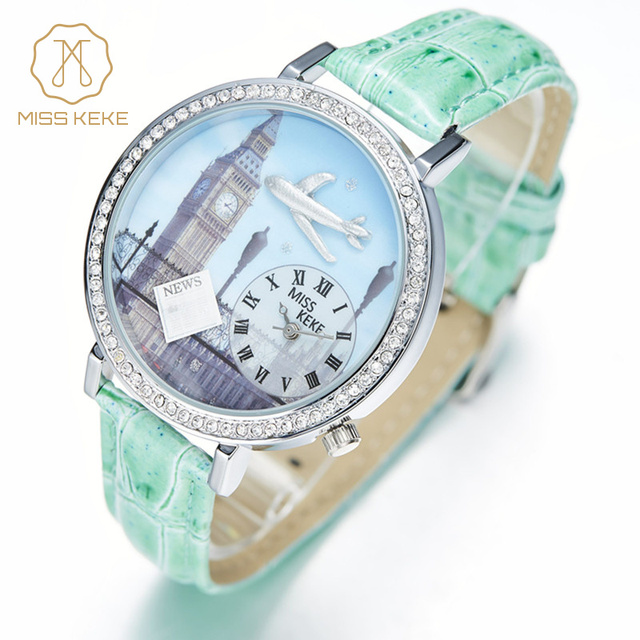 Miss Keke Children 3D Clay Big Ben Designer Watches Clock Quartz Cartoon Watch Diamond Girls Casual Waterproof Wristwatch 1046