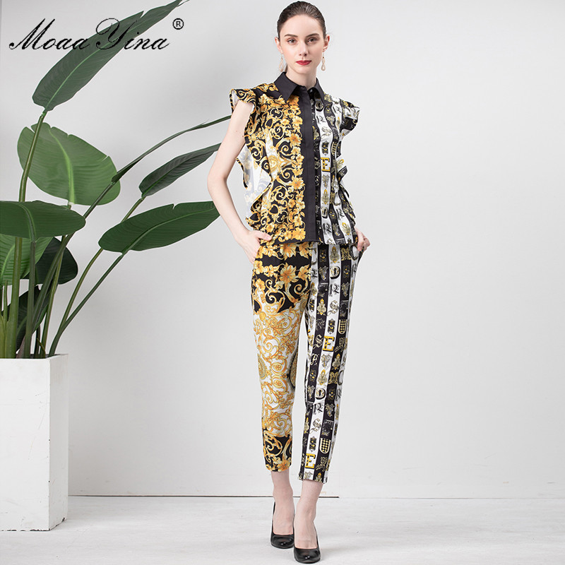 MoaaYina Fashion Designer Set Spring Autumn Women Butterfly Sleeve letter Floral Print Vintage Tops Pencil pants