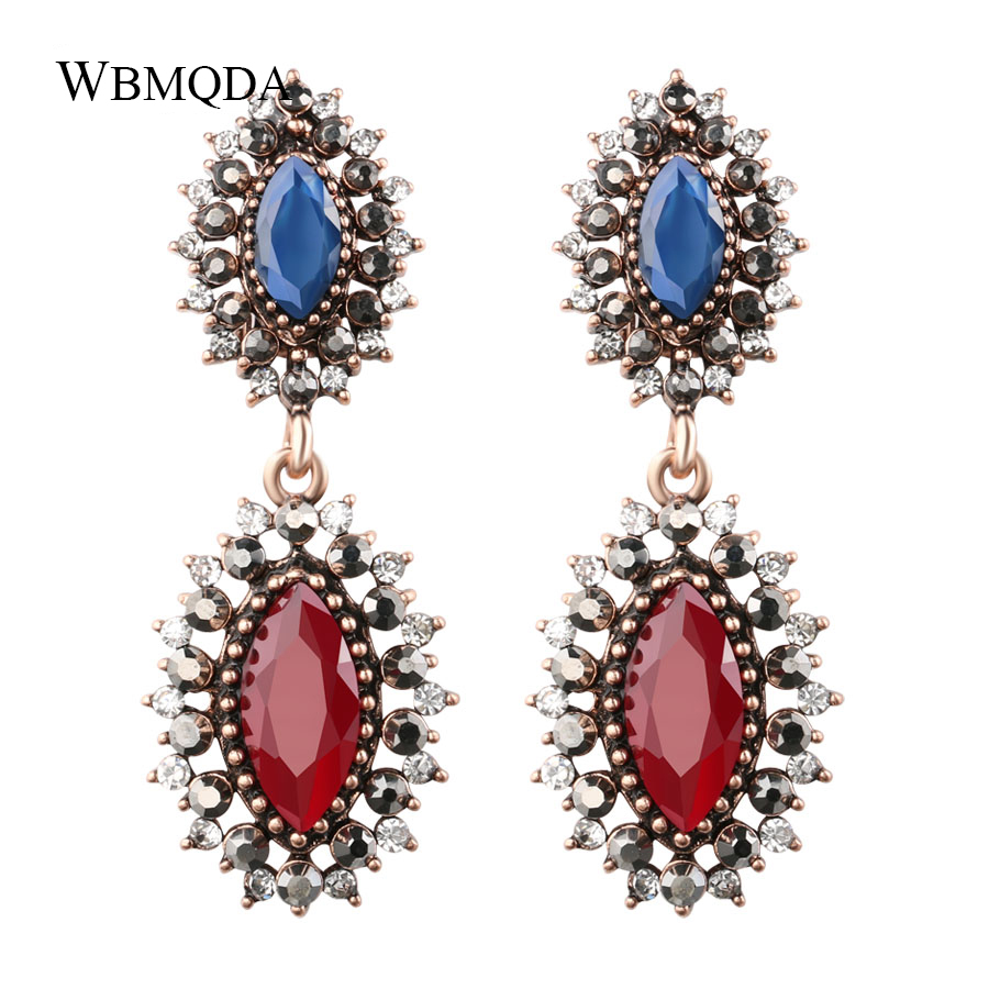 Furniture Faithful Vintage Red Blue Resin Big Earrings Turkish Antique Gold Crystal Drop Earrings For Women Fashion Bohemian Jewelry