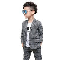 Boys Clothes Sets Kids Formal Suit Single breasted Plaid Jackets+ trouser 2pcs Outfits Baby Boy Gentleman Suits Children clothes