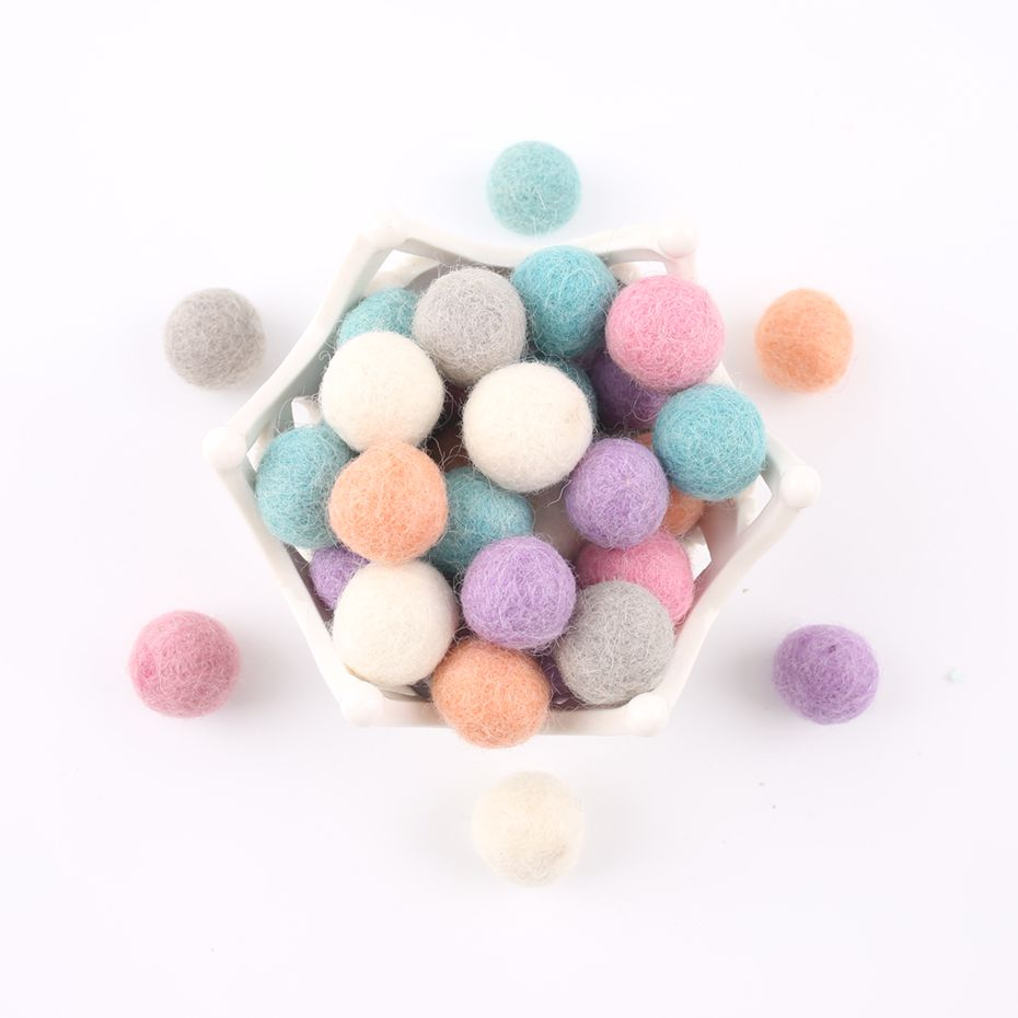 50pc Wool Felt Balls Handmade Beads Felt DIY Crafts Accessories Holiday Decorations Baby Room Arts And Crafts Toys Baby Products