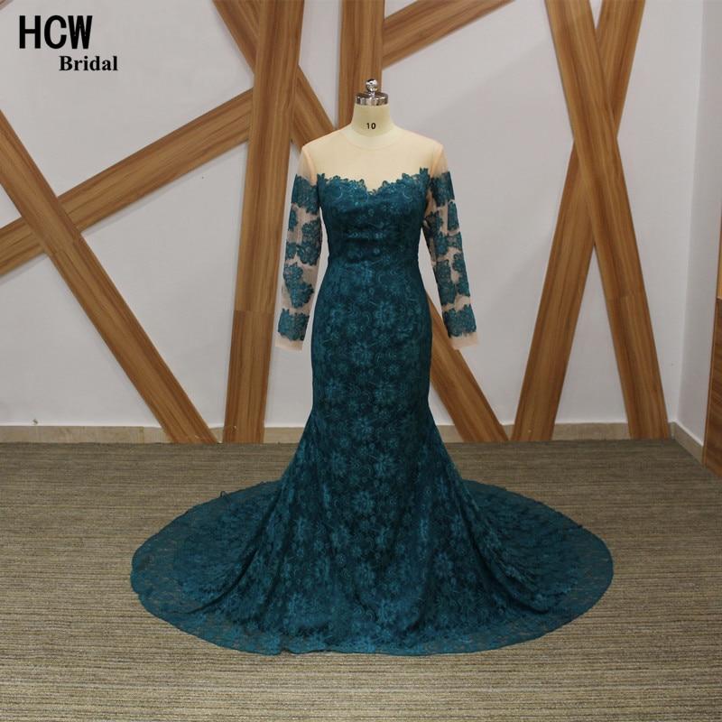 Elegant Långärmad Aftonklänning Mörkgrön Sjöjungfrun Lace - Särskilda tillfällen klänningar - Foto 4