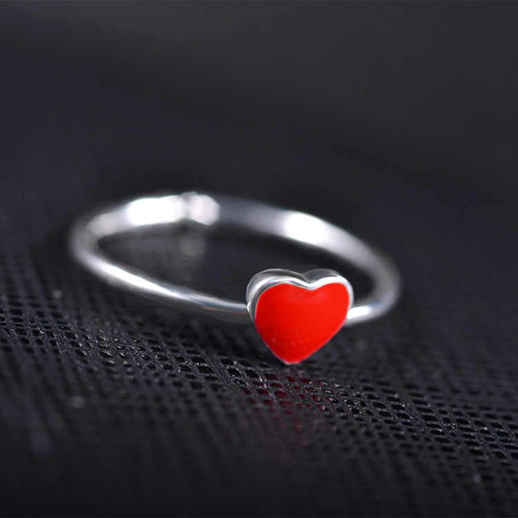 ใหม่มาถึงเครื่องประดับแหวนหญิงความคิดสร้างสรรค์สีแดงหัวใจหัวใจแหวน