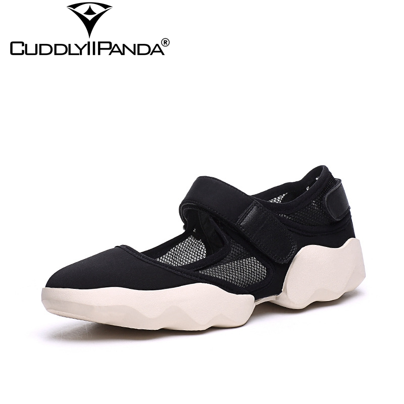 CuddlyIIPanda 2019 Lycra Net Yarn Women Summer Shoes Air Mesh Breathable Flats Hook&Loop Sneakers Pointed Toe Shallow Shoes