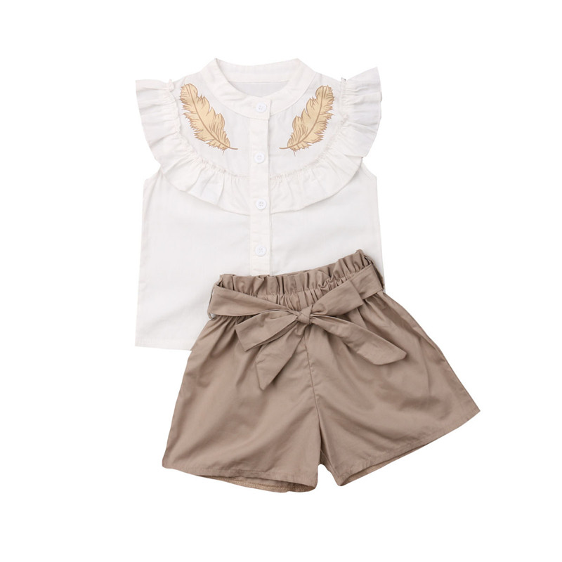 6a7fbbf2b39e Casual Kids Baby Girls Clothes 2Pcs Sets Feather Print Summer Ruffles Tank  Tops Vest Bow Wide