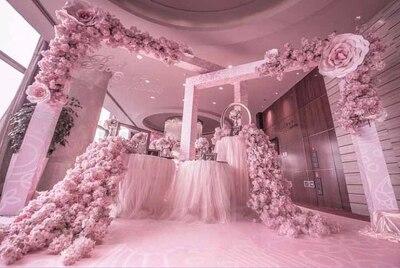 210 cm long rose cerisier fleur chemin de table mariage artificielle soie fleur toile de fond décoration de mariage