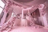 210cm long Pink cherry blossom flower table runner Wedding Artifical Silk Flower Backdrop Wedding Decoration