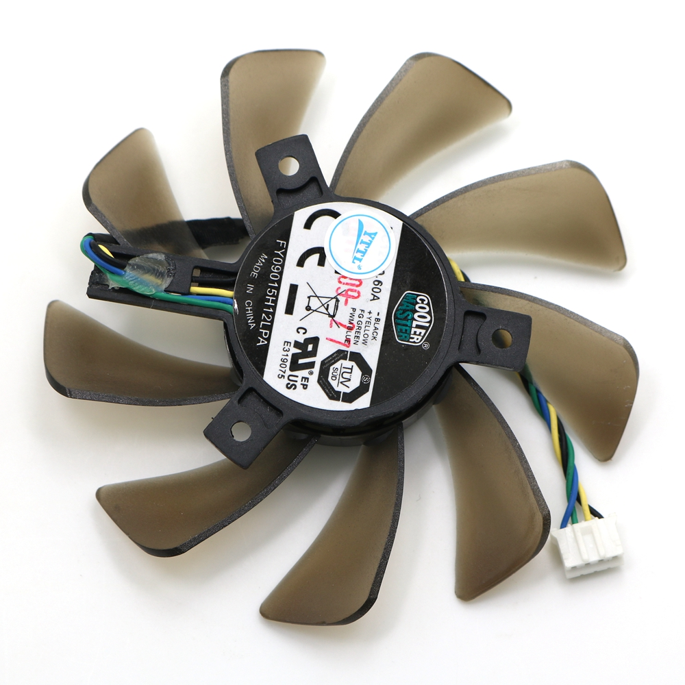 New 85MM Graphics Video Card Cooler Fan FY09015H12LPA Replacement For ASUS Sapphire R9 280x 40MM DC 12V 0.60A 4 Pin Cooling Fans 2pcs gpu rx470 gtx1080ti vga cooler fans rog poseidon gtx1080ti graphics card fan for asus rog strix rx 470 video cards cooling