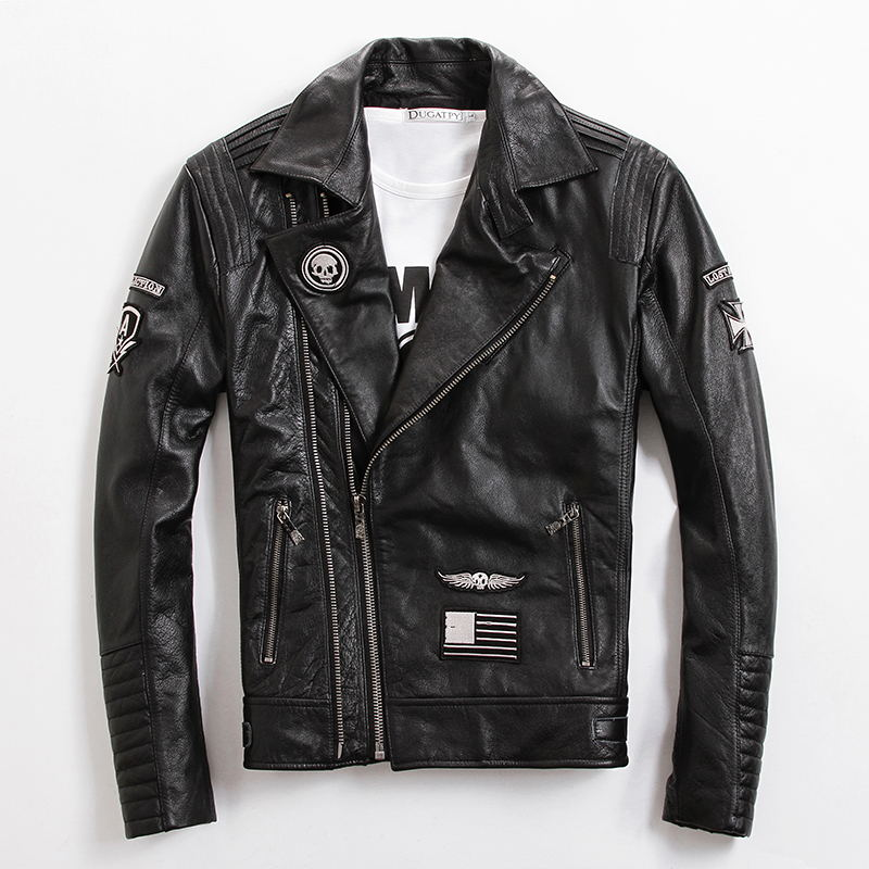 2017 Men Black Genuine Skull Leather Motorcycle Jacket Diagonal Zipper Real Thick Cowhide Slim Fit Shor Biker Coat FREE SHIPPING