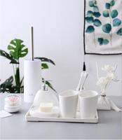 China Six piece Set ceramics Bathroom Accessories Set Soap Dispenser/Toothbrush Holder/Tumbler/Soap Dish Bathroom Products