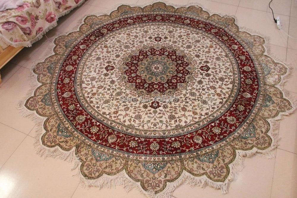 Free Shipping 8u0027X8u0027 Round Hand Knotted Silk Oriental Persian Rug(China