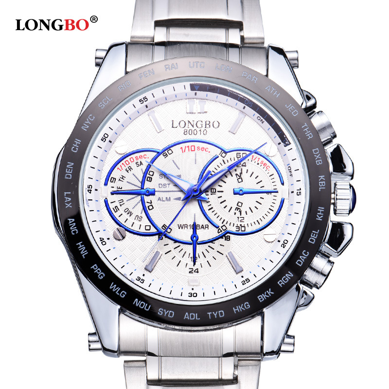 LONGBO Men Sport Watch Men Full Stainless Steel Men's Quartz Led Men Watch Waterproof Sport Wrist Watch Relojes Hombre longbo ultra thin stainless steel quartz wrist watch for men silver