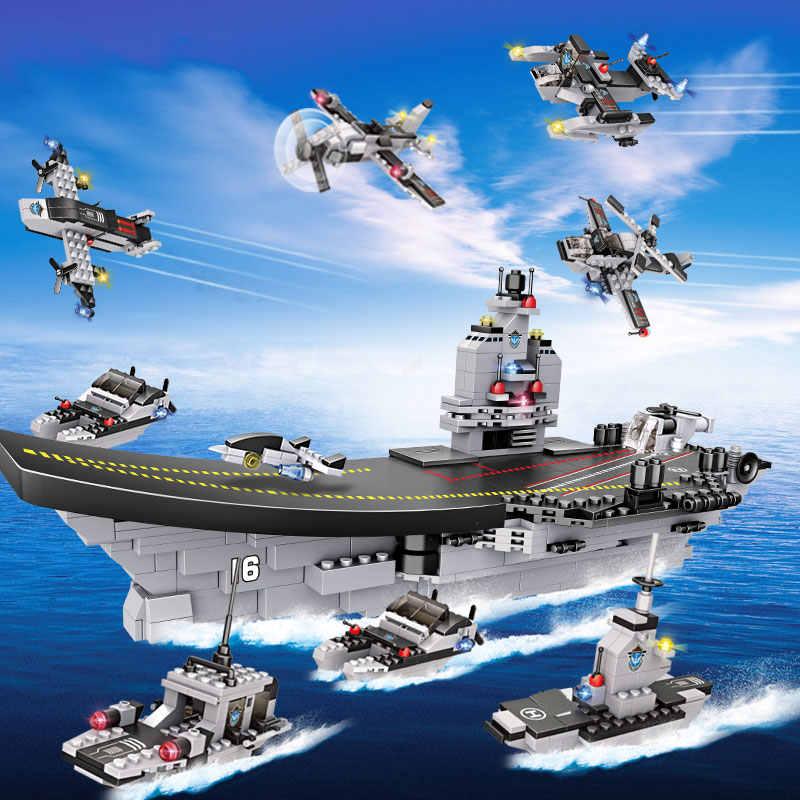 751PCS LiaoNing Gruppo Nave Da Guerra Building Blocks 8 in 1 Aircrafted Carrier Nave Militare Giocattoli Dei Mattoni Per I Bambini