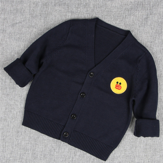 New Embroidery Character V-neck Kids Knitted Cardigan Sweater Children Sweaters Autumn Spring Clothing For Girls Boys AS-1576-2