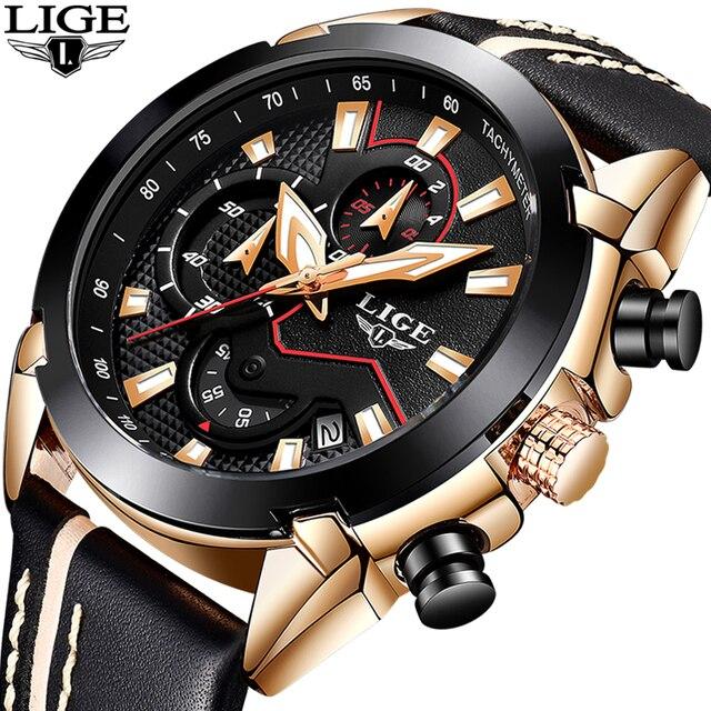 Lige Fashion Design Leather Date Chronograph Men Quartz Watches