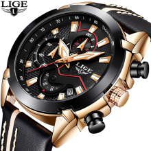 2018 New LIGE Design Fashion Brand Watches Herre Læder Sport Dato Chronograph Quartz Watch Mandlige Gaver Clock Relogio Masculino