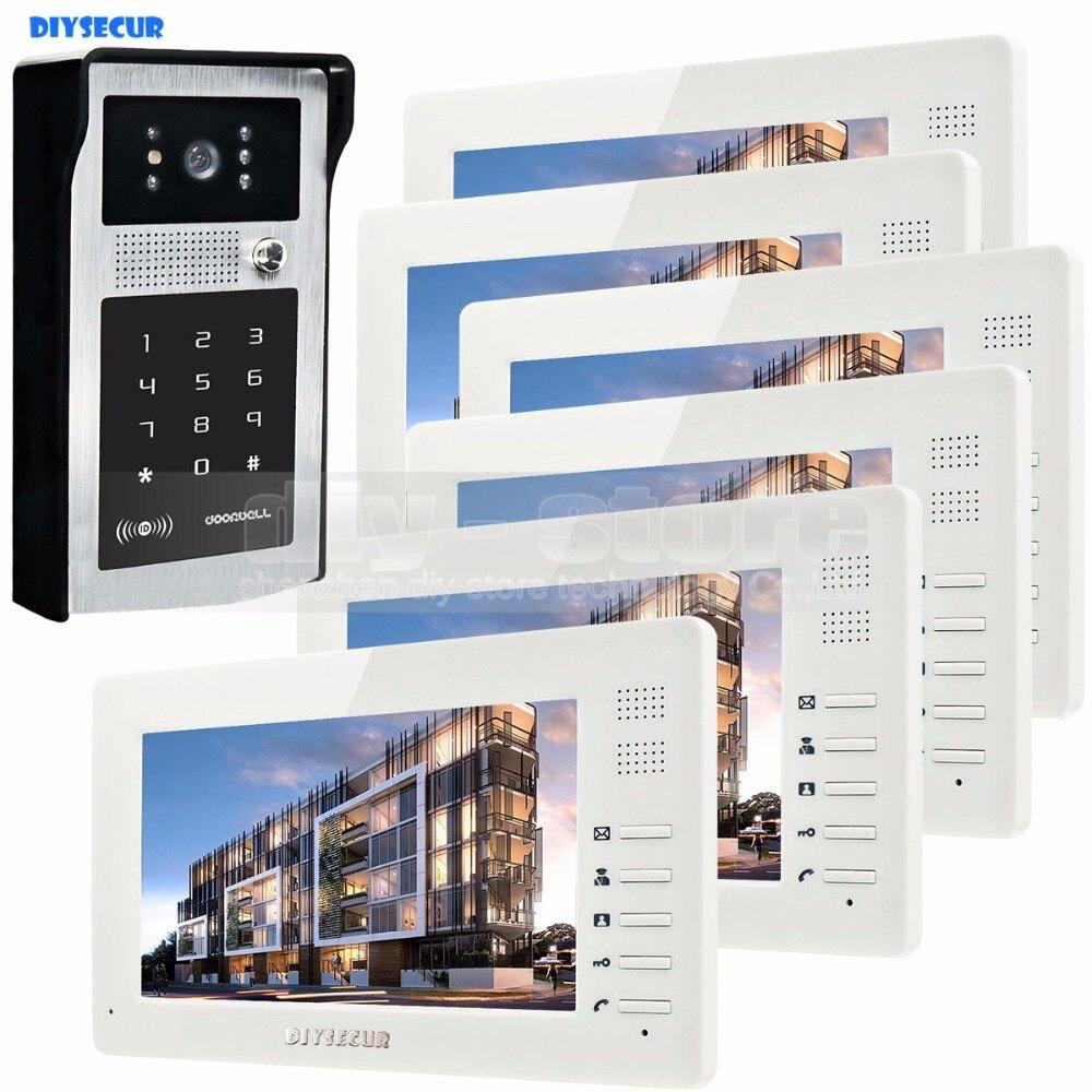 DIYSECUR 7inch 1024 x 600 HD TFT LCD Screen Video Door Phone Video Intercom Doorbell Buildin RFID Reader + Password HD Camera