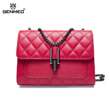 GENMEO Brand New Arrival Check Design Genuine Leather Handbag with Chain Shoulder Strap and Metal Lock Feminina Bolsa
