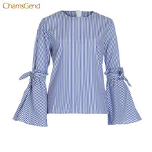 CHAMSGEND 2017 Autumn Spring Women Blouse Long Flare Sleeve Bow Tie Women Shirts Striped Casual Blouse O Neck Cotton Blouse Tops