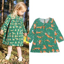 Baby Girls Animal Fox Dress Long Sleeve Brand Kids Winter Dresses for Girls Clothes Vestidos Christmas Dress Princess Costume