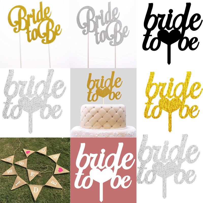 Bride to be Cake Topper Cupcakes flag Team Bride Bridal Shower Gold Silver Glitter Paper Bachelorette Hawaiian wedding party