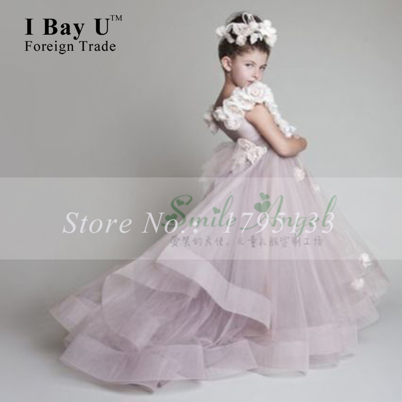 Purple Applique Lace Flower Girl Dresses Toddler Glitz Pageant ...