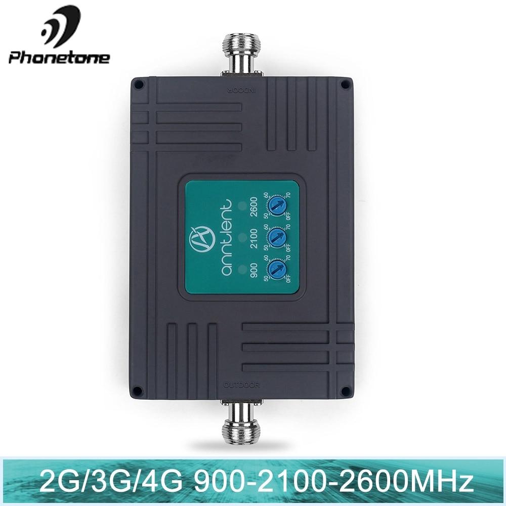 70dB Gain 2G 3G 4G Tri Bande Répéteur ALC Intelligent mini GSM 900 + WCDMA 2100 + LTE 2600 MHz Amplificateur Cellulaire téléphone portable Signal Booster