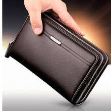 2016 Hot Double Zipper Men Clutch Bags Genuine Leather Wallet Men New Brand Wallets Male Long Wallets Purses carteira masculina