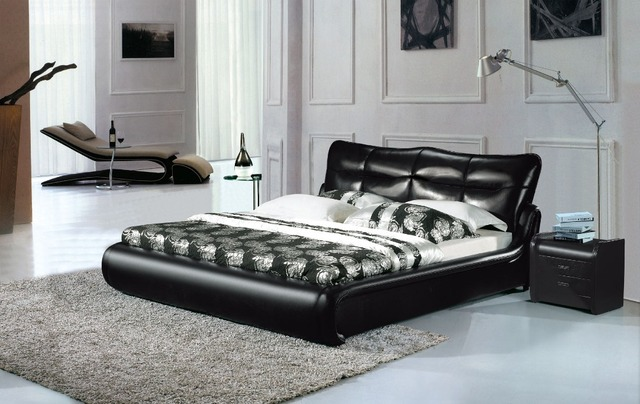 genuine leather bed soft bed  bedroom home furniture modern
