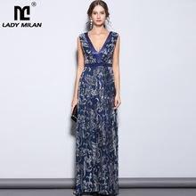 Женское платье длинное вечернее В миланском стиле без рукавов