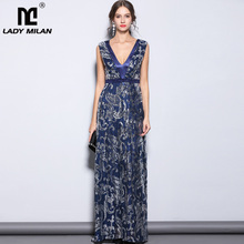 Lady Milan Womens Party Prom Sexy V Neck Sleeveless Embroidery Sequined Elegant Formal Long Runway Dresses