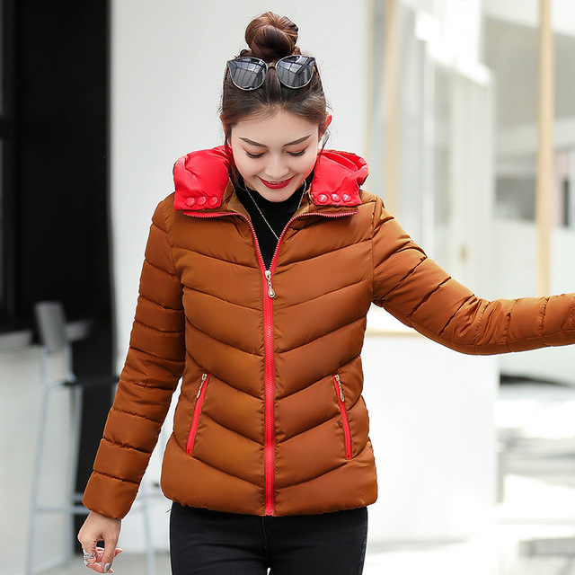2018 full cotton liner zipper solid new arrival slim cotton jacket zippers cotton-padded winter women coat 3