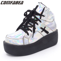 Queencity Women S Lace Up Harajuku Casual Fashion Small Cross High Wedge Platform Comfortable Flat Cheepers