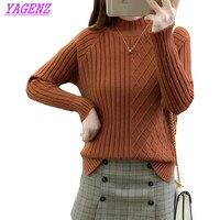 Women Semi High Collar Winter Warm Pullover Sweater New Korean Women Raglan Sleeve Knitted Sweater Loose