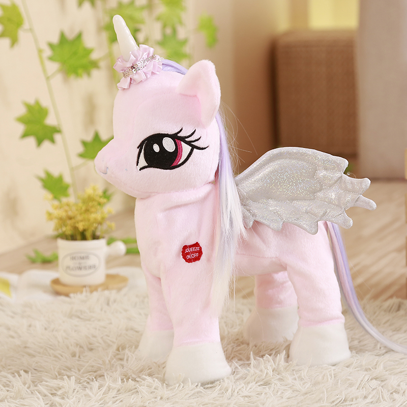 Talking Singing Walking Unicorn Speaking Plush Toys Electronic Stuffed Animals For Children Girls Boys Baby Tiara