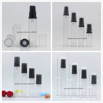 12ML clear plastic airless bottle black pump clear/black lid lotion/emulsion/eye serum/sample/toner skin care cosmetic packing